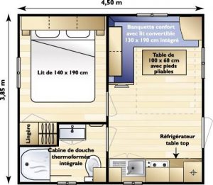 Plan du mobil-home 1 chambre