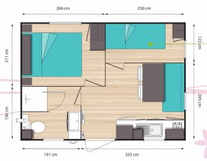 plan du mobil-home 3 places