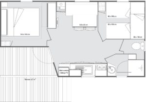 Plan Mobil-home 2 chambres 5 places